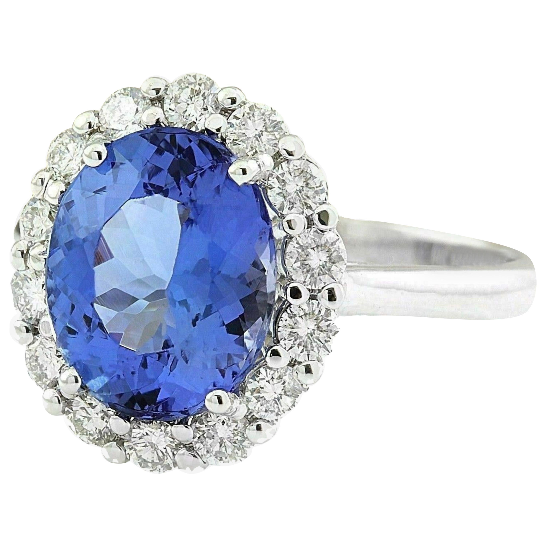 8.42 Carat Tanzanite Diamond Ring 14 Karat White Gold