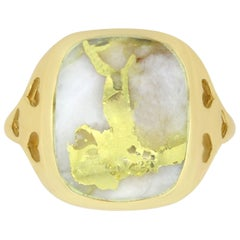 8.43 Carat Gold in Quartz Heart Ring