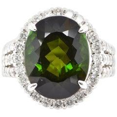 8.43 Carat Green Tourmaline and Diamond Cocktail Ring Set in Platinum