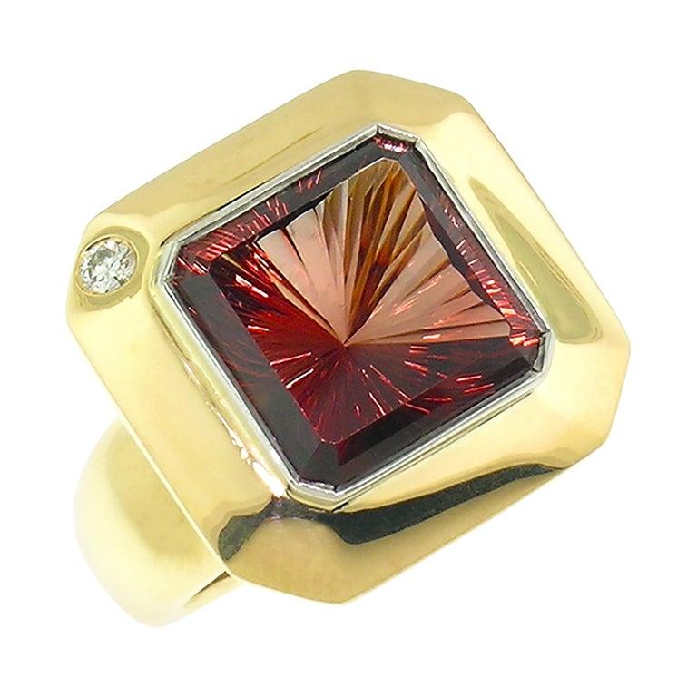 8.43 Carat Oregon Sunstone and Diamond 18 Karat and Platinum Ring For Sale