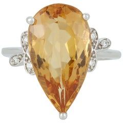8.44 Carat Pear Shaped Yellow Beryl Diamond Fashion Ring 14 Karat White Gold