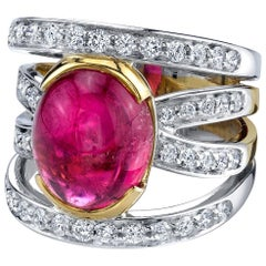 8.44 ct. Pink Tourmaline Cabochon, Diamond 18k Yellow and White Gold Band Ring