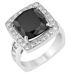 8.44 Carat Square Cut Black Diamond White Gold Ring