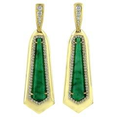 8.45 Carat Jade Diamond 18 Karat Gold Earrings