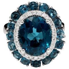 8.45 Carat Natural Impressive London Blue Topaz and Diamond 14k White Gold Ring