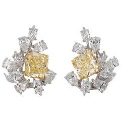 8.45 Carat Yellow Diamond Cluster Earrings