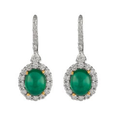 8.45ct Cabochon Emeralds with Diamonds Drop Earrings 18k White Gold