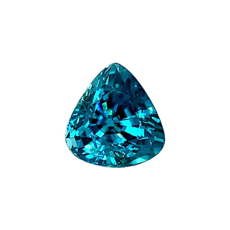 8.46 Carat Blue Zircon Trillion, Unset Loose Gemstone for Ring or Drop Pendant For Sale