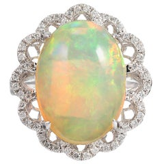8.46 Carat Cabochon Opal and Diamond Lace Ring