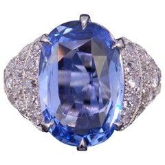 8.46 Carat Ceylon Blue Sapphire and Diamond Ring