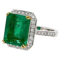 8.47 Carat Emerald-Cut Colombian Emerald and Diamond Vintage Cocktail Ring