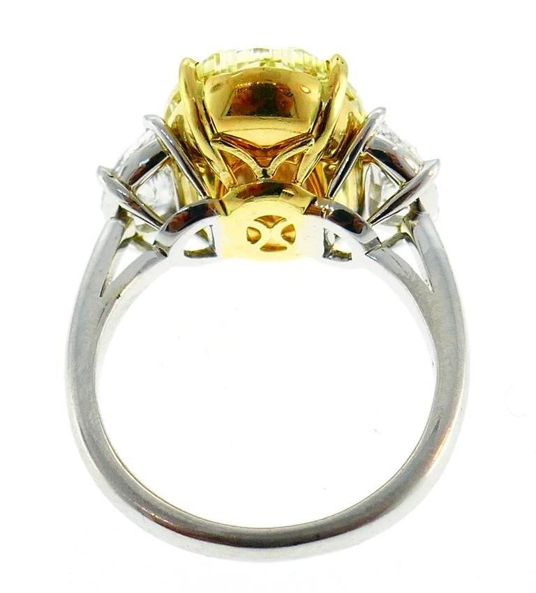 8.47 Carat Fancy Yellow Diamond GIA Platinum Ring Solitaire For Sale 4