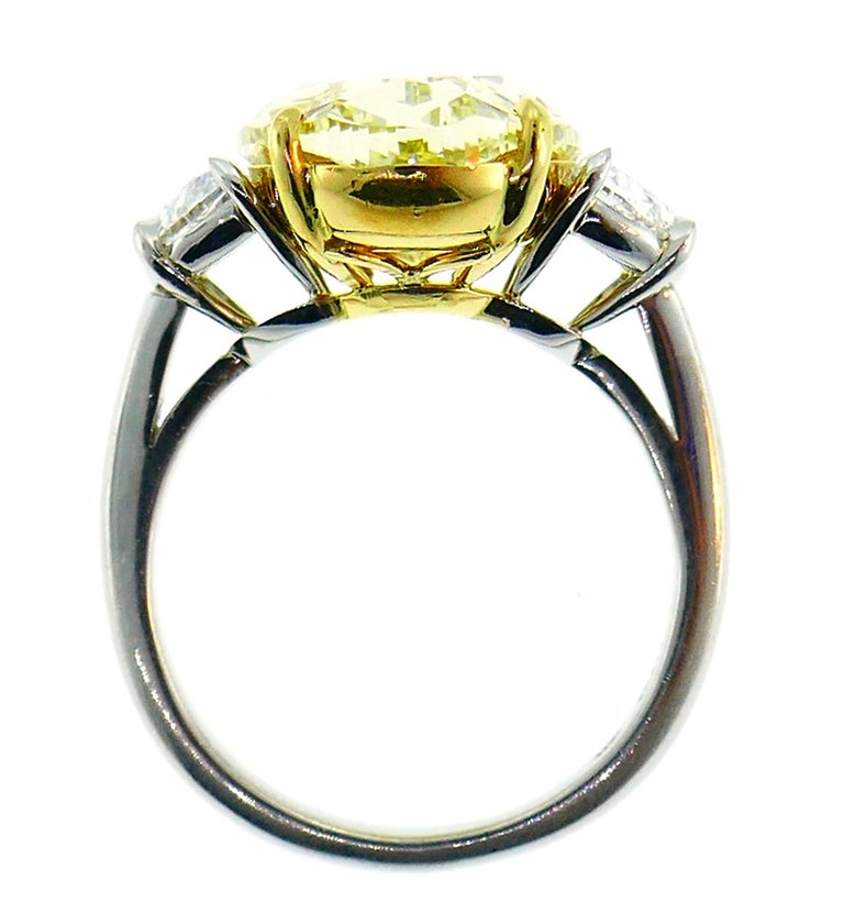 8.47 Carat Fancy Yellow Diamond GIA Platinum Ring Solitaire For Sale 5
