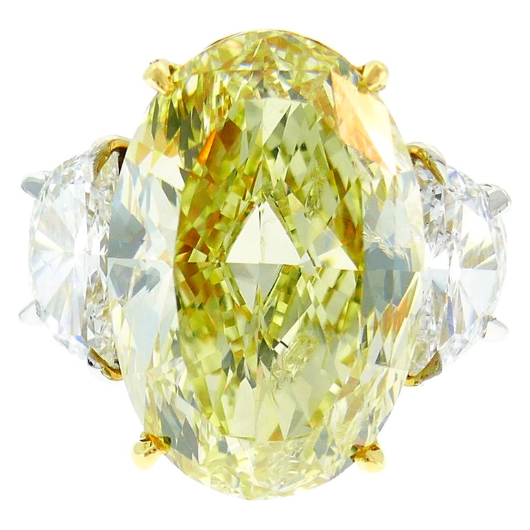 8.47 Carat Fancy Yellow Diamond GIA Platinum Ring Solitaire For Sale