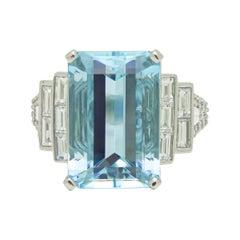 8.49 Carat Aquamarine & Diamond Platinum Ring