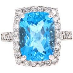 8.49 Carat Blue Topaz Halo Diamond White Gold Engagement Ring