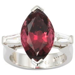8.49 Carat Red Spinel and Diamond Three-Stone Ring