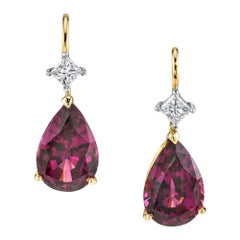 8.49 Carat Rhodolite Garnet and Diamond 18 Karat White and Rose Gold Earrings