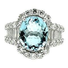 8.5 Carat Aquamarine 18 Karat Gold 3 Carat Round Baguette Diamond Halo Ring