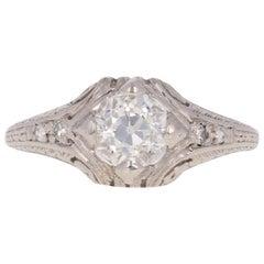 .85 Carat Art Deco Diamond Engagement Ring, Platinum GIA European