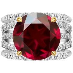 8.5 Carat Burgundy Rhodolite Garnet Diamond 14 Karat White Gold Transformer Ring