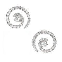 .85 Carat Diamond Gold Swirl Earrings