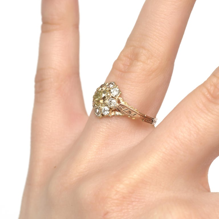 .85 Carat Diamond Yellow Gold Engagement Ring For Sale 3