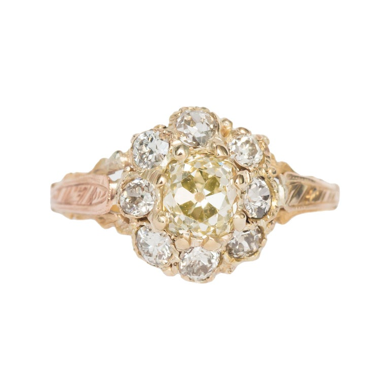 .85 Carat Diamond Yellow Gold Engagement Ring For Sale