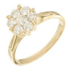 .85 Carat Diamond Yellow Gold Flower Cluster Engagement Ring