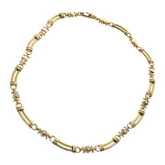 .85 Carat Diamond Yellow Gold Link Necklace
