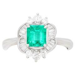 .85 Carat Emerald and Diamond Ring Platinum