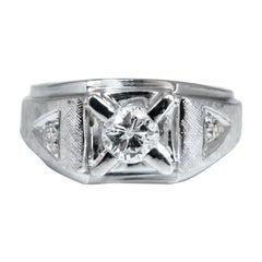 .85 Carat Natural Diamonds Men's Solitaire Accent Ring 14 Karat