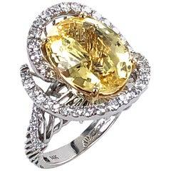 8.5 Carat No Heat Yellow Sapphire Diamond Contemporary Cocktail Ring