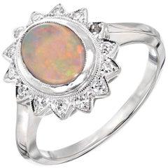 .85 Carat Opal Diamond Halo White Gold Ring
