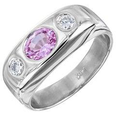 .85 Carat Pink Sapphire Diamond Gold Three-Stone Gypsy Ring