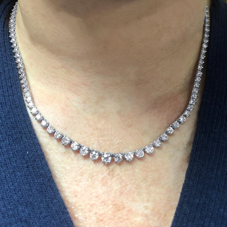 Modern 8.5 Carat Riviere Diamond Necklace For Sale