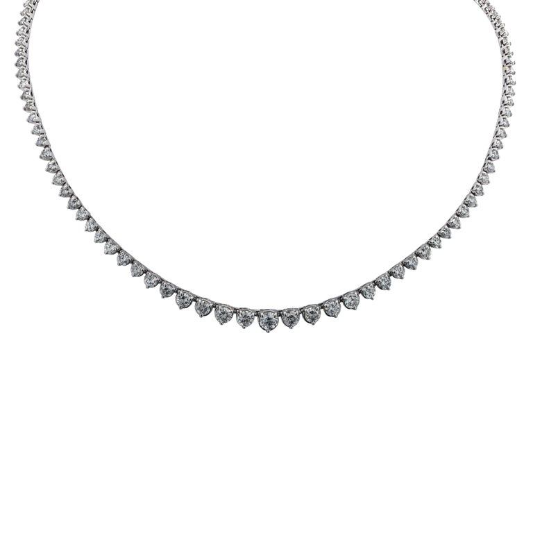 Round Cut 8.5 Carat Riviere Diamond Necklace For Sale