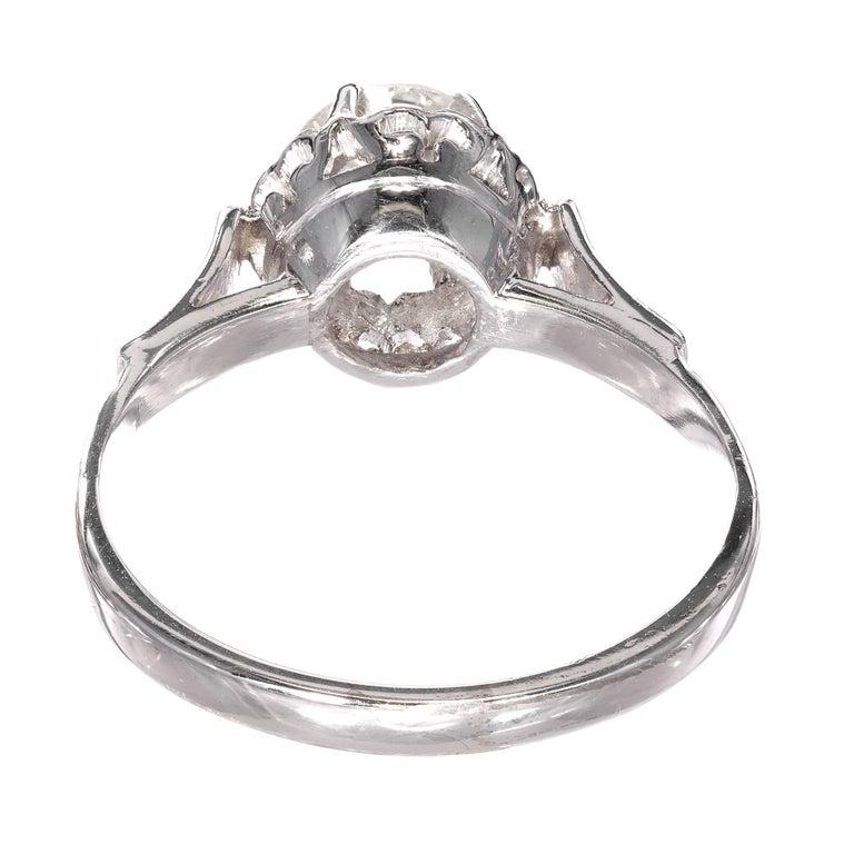 Women's .85 Carat Round Diamond Platinum Gold Solitaire Engagement Ring For Sale