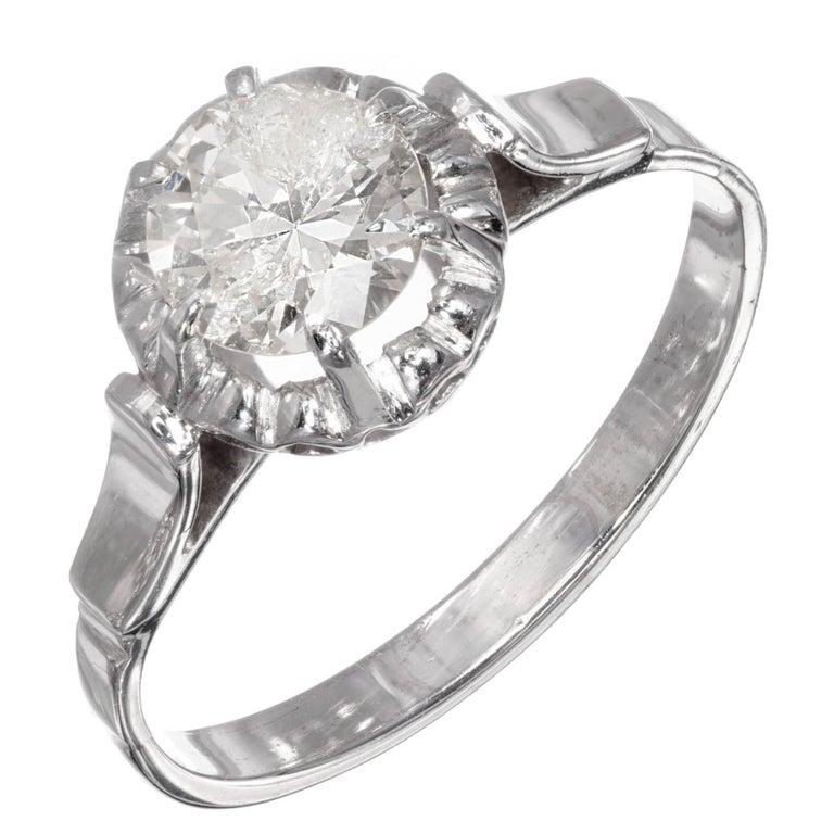 .85 Carat Round Diamond Platinum Gold Solitaire Engagement Ring For Sale