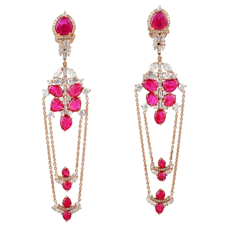 8.5 Carat Ruby 18 Karat Gold Diamond Chain Drop Earrings