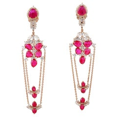 8.5 Carat Ruby 18 Karat Gold Diamond Chain Drop Earrings