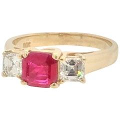 .85 Carat Ruby and Diamond Ring Set in 14 Karat Yellow Gold
