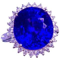 8.5 Carat Tanzanite Diamond Ring 18 Karat White Gold