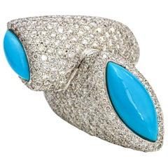 8.50 Carat 18 Karat White Gold Turquoise Diamond Bypass Ring