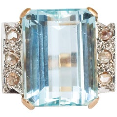 8.50 Carat Aquamarine Rose Gold Engagement Ring