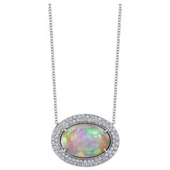 8.50 Carat Australian Opal and 3.35 Carat Diamonds 14 Karat White Gold Necklace
