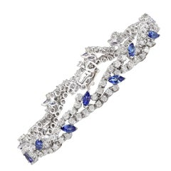 8.50 Carat Natural Tanzanite 18 Karat Solid White Gold Diamond Bracelet