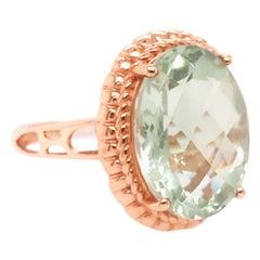8.50 Carat Oval Green Amethyst Gemstone Ring in 14 Karat Gold Genuine Amethyst