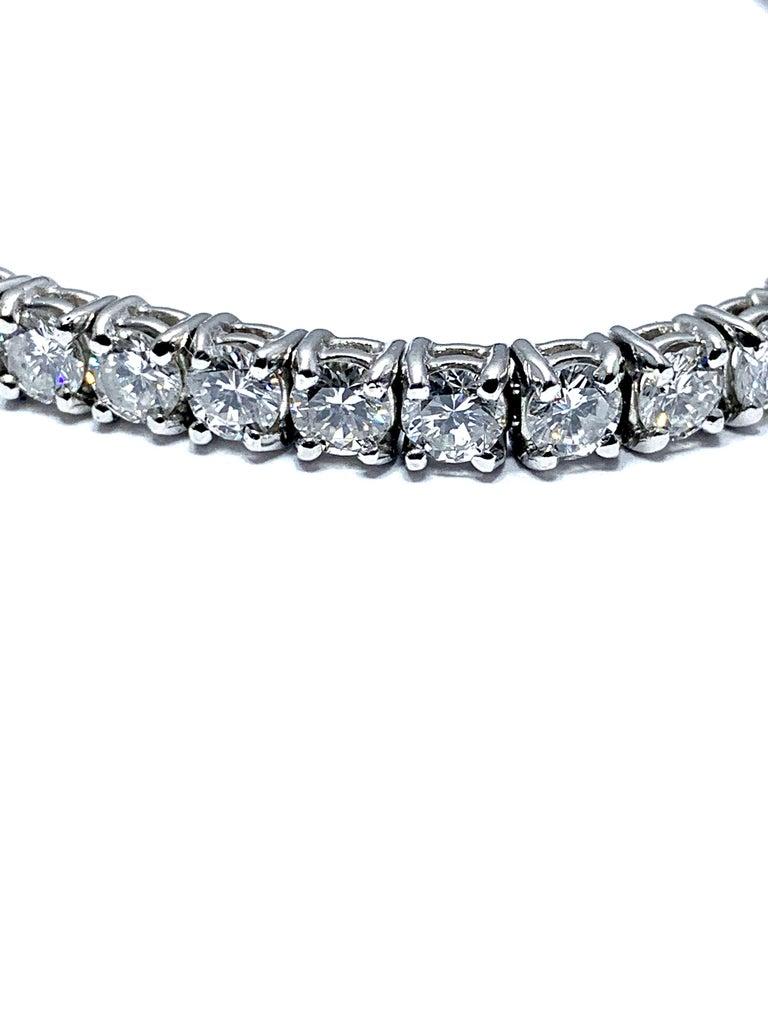 Modern 8.50 Carat Round Brilliant Diamond Platinum Straight Line Tennis Bracelet For Sale