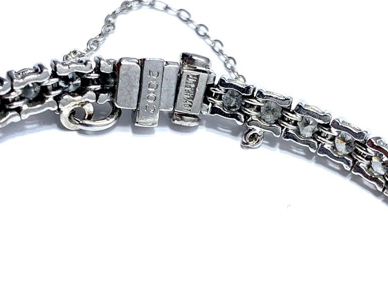 Round Cut 8.50 Carat Round Brilliant Diamond Platinum Straight Line Tennis Bracelet For Sale